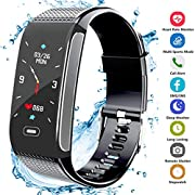 Hocent Fitness Tracker Activity Smart Bracelet Wristband with Pedometer Heart Rate Sleep Monitor Step Calorie Counter Waterproof IP67 Call SMS SNS Remind for Men Women Kids Compatible with Android IOS
