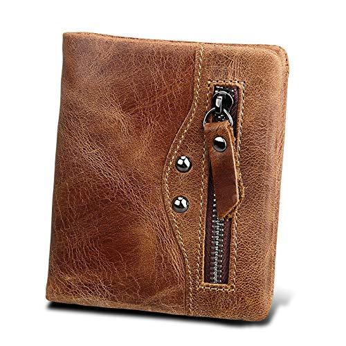 RANGE Cuero genuino Billetera for hombre Anti-RFID Billetera for hombre La toallita de moda retro corta es la opción for compras de viajes de ocio Tríptico (Color : Brown, Size : S)