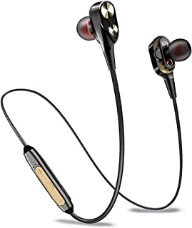 (Renewed) PTron BT Headphone Boom 4D Earphone Dual Driver Sport Bluetooth Headset with Mic (Gold/Black)