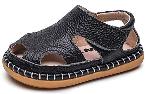 Gaatpot Unisex-Kinder Sandalen Mädchen Jungen Kindersandale Geschlossene Baby Sommer Leder Sandale Lauflernschuhe Schuhe Schwarz(Baby) 22.5 EU/18 CN