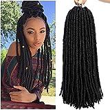 6packs Straight Faux Locs Crochet Twist Hair Braids Synthetic Hair Extensions Faux locs Kanekalon Fiber Braiding Hair Afro Kinky Soft Dread Dreadlocks 18 Strands (18' (6-Packs), 1B)