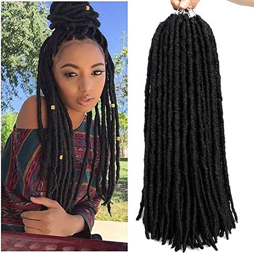 "6packs Straight Faux Locs Crochet Twist Hair Braids Synthetic Hair Extensions Faux locs Kanekalon Fiber Braiding Hair Afro Kinky Soft Dread Dreadlocks 18 Strands (18"" (6-Packs), 1B)"