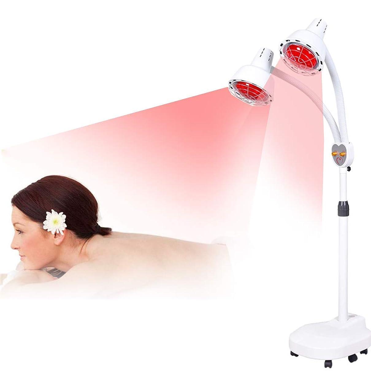 で出来ている危険を冒します保持する多機能ダブルヘッド遠赤外線理学療法ランプ美容院ホーム美容スキンベーキング電気理学療法器具暖房加熱ベーキング理学療法ランプ275ワット