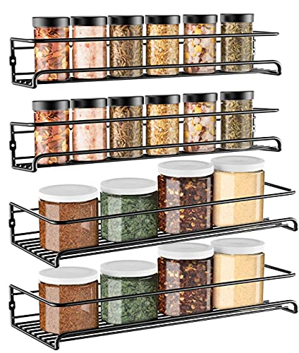 GEEDIAR Gewürzregal - 4er 2 Größen hängend lang Wand metall Gewürzhalter Küchenregal ohne bohren - Gewürzregal Set selbstklebend mit Haken & Aufkleber für Küche, Schranktür, Deco, Badzimmer, Schwarz