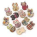 Lot de 100 boutons en bois avec motif chat mignon - Pour travaux manuels - Couleurs assorties