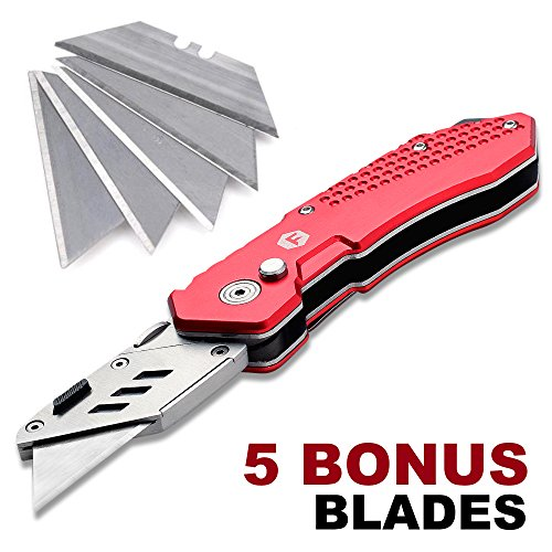 FC Folding Pocket Utility Knife - Heavy Duty Box Cutter with Holster, Quick Change Blades, Lock-Back Design, and Lightweight Aluminum Body Photo #7