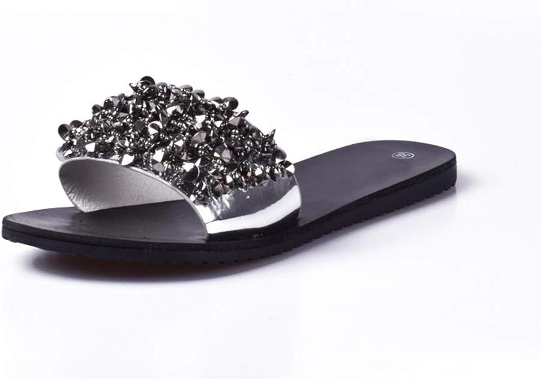 T-JULY Fashion Summer Slides Sandals for Women Crystal Rivet Wedges Platform Slippers