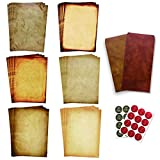 Antique Stationary Paper and Envelopes Set – Vintage Parchment Paper Old Fashioned Letter Stationery for Printing, Invitation and Calligraphy – 48 Writing Paper with 24 Envelopes Included