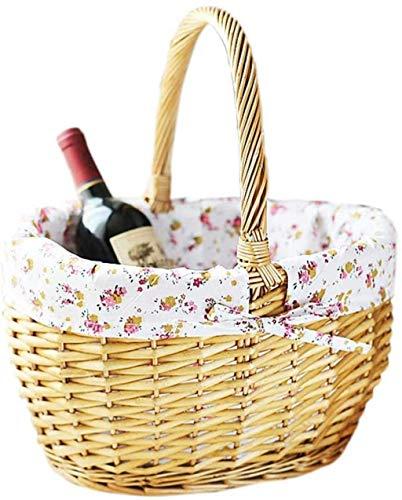 Cesta de picnic de mimbre con cesta de picnic de mimbre al aire libre Mano tejida de frutas Cesta de almacenamiento de frutas Use el hogar Decoración de la boda alineada Lined Hillow Herfper Suministr