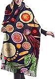 Bufanda vegana Frutas vivas Verduras Acogedor Suave Moda Invierno Cálido Bufanda grande Chal largo