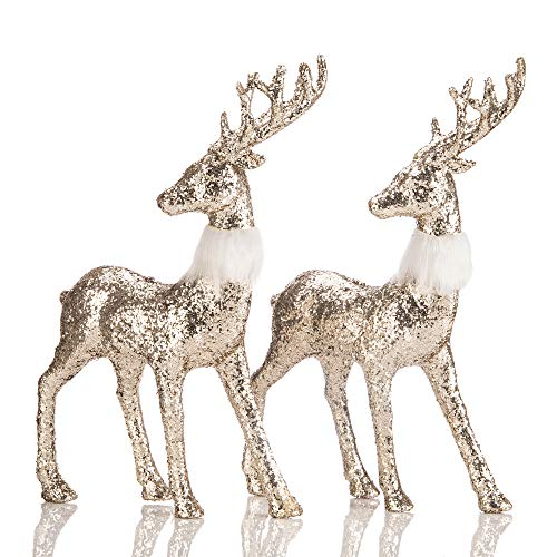blitzlabs Golden Glitter Reindeer Christmas Decoration Freestanding Indoor Decorative Stag Deer Figurines for Tabletop, Kitchen,Mantle, Shelf,Desk,Office Winter Decor, Set of 2