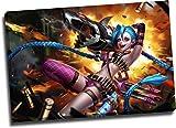 Póster enmarcado para videojuegos, diseño de Jinx de la Liga de Aryago, diseño de leyendas de Jinx, para dormitorio de niños y niñas, estirado y listo para colgar.