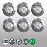 B.K. Licht lot de 6 spots LED encastrables ultra-plats, orientables, dimmables,...