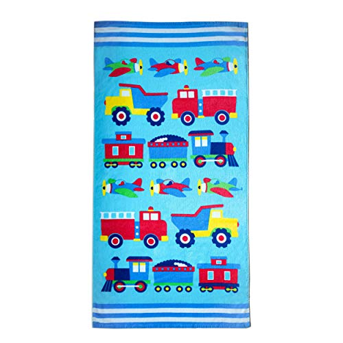 Wildkin 100% Cotton Towel for Boys and Girls Perfect for Beach and Pool Time Fun, Certified OEKO-TEX Standard 100, Measures 64 x 32 Inches, BPA-free, Olive Kids (Trains, Planes and Trucks)