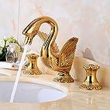 grifos de cocina fregadero grifo lavabo grifo osmosis fregadero Grifo de lavabo dorado de estilo europeo grifo de tres orificios para baño retro debajo del lavabo grifo de tres piezas chapado en oro