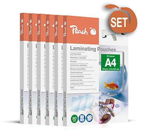 Peach PP580-50 Laminierfolien, DIN A4, 80 mikron, 6x 100 Stück - Jumbopack zum Spartarif