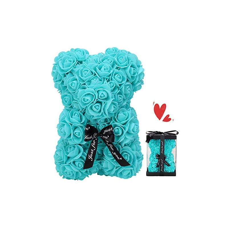 silk flower arrangements zfdeby rose bear rose flower bear hand made rose teddy bear best artificial decoration gifts for mothers day, valentines day,bridal,weddings,the perfect party clear gift box(11-t blue)