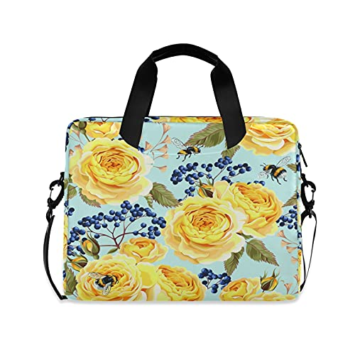 JNlover Animal Bee Floral Pattern Laptop Bag 16 inch, Portable Sleeve Briefcase Laptop Case Notebook Computer Carrying Case Bag for Women Men