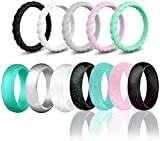 SOVSEFD Silicone Wedding Ring Bands for Women 12 Pack Size 4 5 6 7 8 9 Womens Thin Stackable & Glitter Powder Rubber Wedding Band Rings 5.7mm & 3mm Wide (Mulit-Color, 8.5-9(18.9mm/0.74inch))