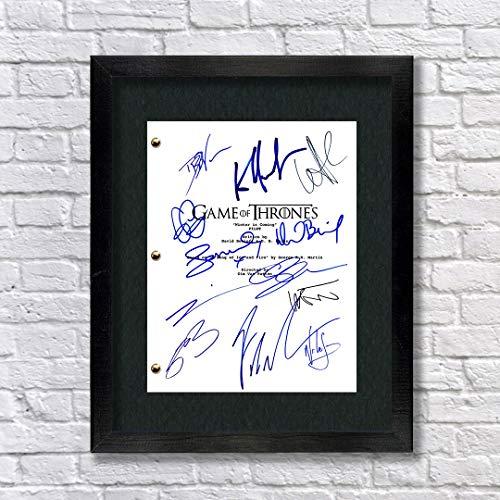 Game of Thrones Cast Autographed Signed Reprint 8.5x11 Script Framed 13x15 - Pilot Script Kit Harington Emilia Clarke Maisie Williams Sophie Turner Peter Dinklage Lena Headey George RR Martin