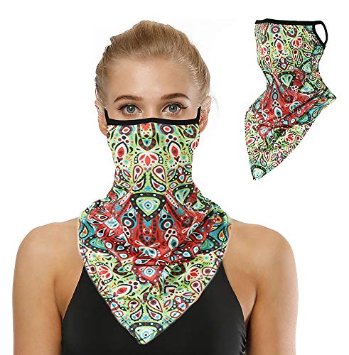 Bandanas for Face Scarf Mask Ear Loops Face Balaclava for Protection,Neck Gaiters for Women and Men HE019