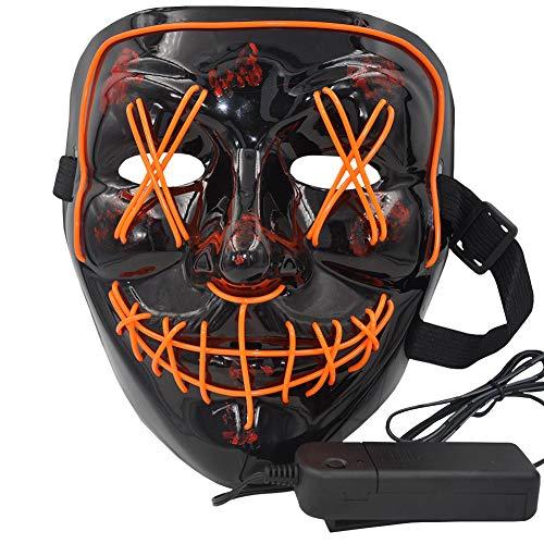 Atimier Halloween LED Máscaras,Mascaras de Halloween,Craneo Esqueleto Mascaras,para la Navidad Halloween Cosplay Grimace Festival Party Show, Fiesta de Musica,Mascarada(Naranja)