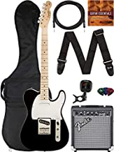 Fender Squier Affinity Telecaster - Black Bundle with Frontman 10G Amplifier, Gig Bag, Instrument Cable, Tuner, Strap, Picks, and Austin Bazaar Instructional DVD