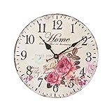 FOKOM 12Zoll 30cm Holz Lautlos Vintage Wanduhr Uhr Wall Clock ohne Tickgeräusche