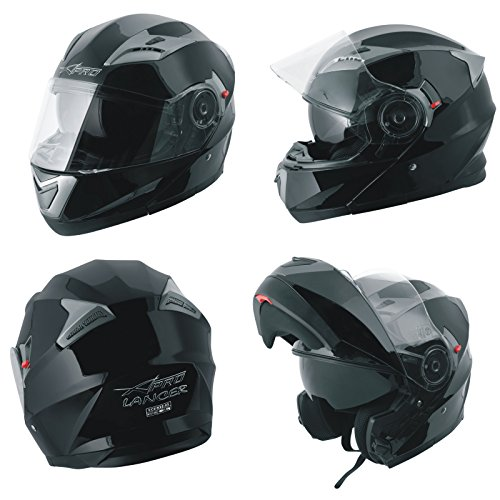 A-Pro Helm Klapphelm Innensonnenblende Motorradhelm Modular Schwarz XL