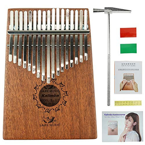 Lark Music 17 Key Mahogany Kalimba African Thumb Piano Finger Percussion Keyboard Portable Music Instrument Key C
