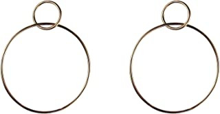 Circle Hoop Earrings - Large Dangle Hoop Earrings for Women - 14k Rose Gold Double Hoop Earrings - Classic Post Hoop Earrings