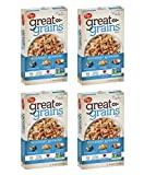 Post Great Grains Blueberry Morning Breakfast Cereal, Non GMO Project Verified, Heart Healthy, Low Fat, Whole Grain Cereal 13.5 Ounce (Pack of 4)