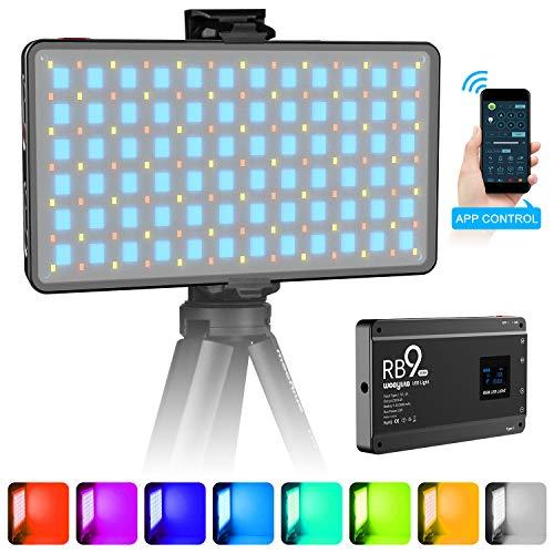 VILTROX Weeylite RB9 RGB LED Videoleuchte Dimmbare 2500K ~ 8500K auf Kameralicht für DSLR Fotografie Camcorder Aufnahmen, APP Steuerung, Eingebauter Akku