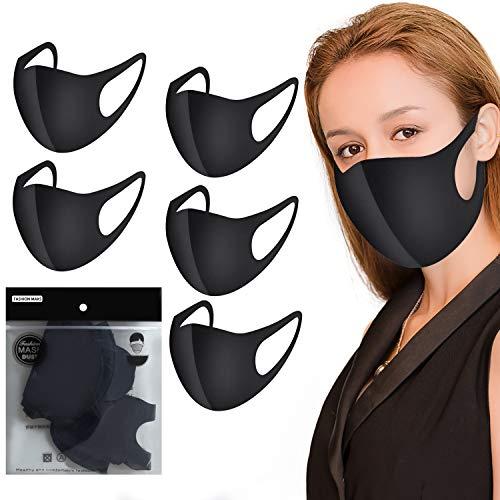 Mundschutz Produkt, Mode Wiederverwendbare,Outdoor-Unisex-Produkt, mit Ohrschlaufen,waschbar, aus Baumwolle,schwarz , Unisex 5 Stück