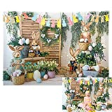 Allenjoy 7x5ft Durable Fabric Easter Backdrop Spring Garden Rabbit Decoration Flower Stand Photography Background Bunny Flag Party Supplies Newborn Baby Portrait Photo Booth Props