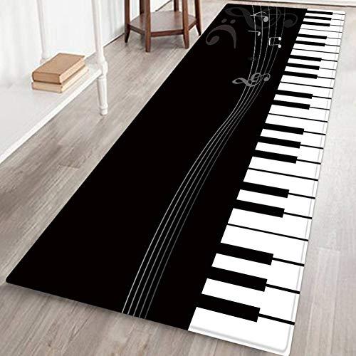 Home Area Rug Door Mat Gloor Mat for Living Room Bathroom Decoration Carpet Anti-Slip - 60 x 180 cm, Piano Keys