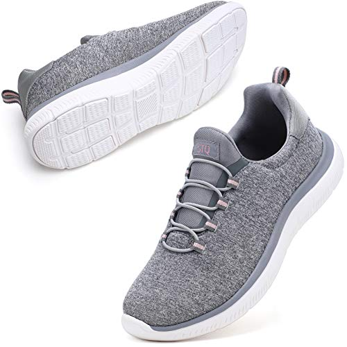 STQ Slip On Sneakers for Women Slip Resistant Walking Shoes Comfortable Memory Foam with Arch Support Dark Gery White 8
