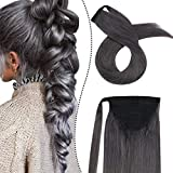 Ugeat 22 Pulgada Clip en Extensiones de Pelo Ponytail Wrap Around Tie Ponytail Human Hair 100g Gris Color