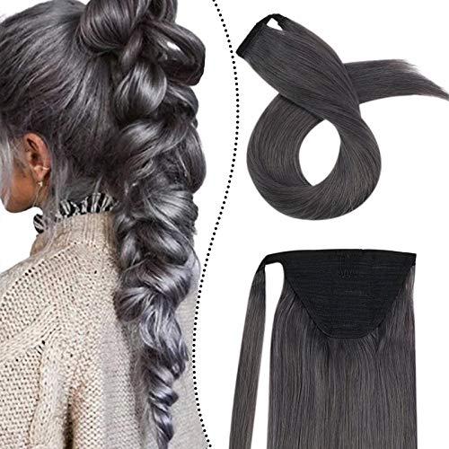 Ugeat 35 cm Clip Bresilienne Ponytail Human Hair Pince Queu de Cheval Postiche Extension de Cheveux Humains Lisse Droit (#Silver, 60GR)