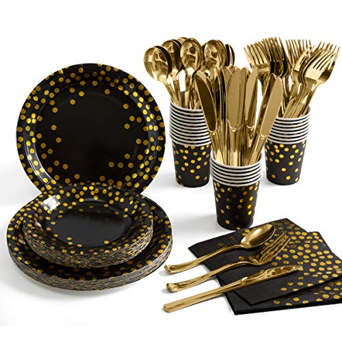Black and Gold Party Supplies 175 Pieces Golden Dot Disposable Party Dinnerware - Black Paper Plates Napkins Cups, Gold Plastic Forks Knives Spoons for Graduation, Birthday, Cocktail Party