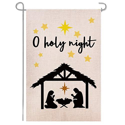 Shmbada Nativity Christ O Holy Night Double Sided Burlap Garden Flag, Seasonal Holiday Home Outdoor Decorative Small Flags for Outside Yard Lawn Patio Porch Farmhouse, 12.5 x 18.5 Inch
