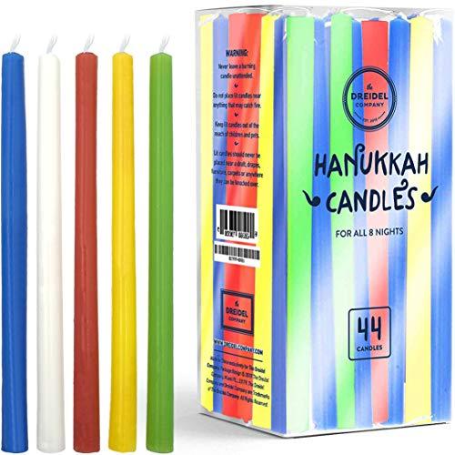 Menorah Candles Chanukah Candles 44 Tall Colorful Hanukkah Candles for All 8 Nights of Chanukah (2-Pack - Tall Hanukkah Candles)
