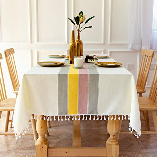 Sunbeauty Mantel Mesa Rectangular Tela Algodon Lino con Borlas 140x180 cm Mantel Elegante Antimanchas Table Cloth Rectangle Tablecloth para Mesa de Comedor