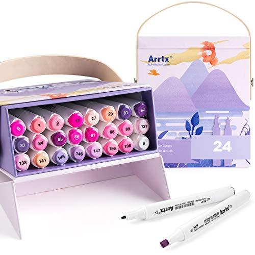Arrtx ALP アルコールマーカー イラストマーカー アートマーカー24色セット 2種類のペン先 防水速乾 プレゼント用 描画、塗り絵、コミック用 ペンスタンド ボックス付き(紫 セット)