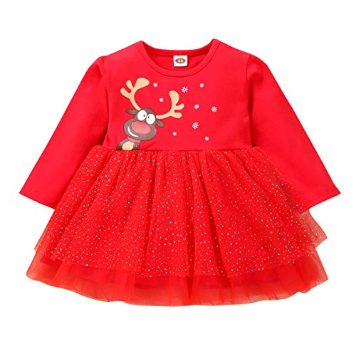 Dibiao Moda Disfraz de Reno Navideño para Niñas Vestidos de Fiesta de Bodas Fiesta Vestido para Niñas Disfraz 80 Rojo