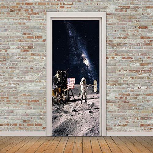 OIODI 3D vinilos decorativos Espacio luna robot astronauta 77x200cm Autoadhesiva Puerta interior Arte Murales Posters Calcomanías Adhesivo De Puerta De Bricolaje Pegatinas De Pared Decoración Hogar E