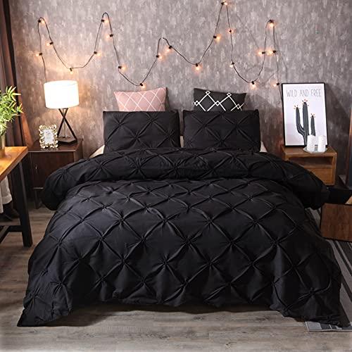 JSFN Bettbezug Plissee Tagesdecke mit geometrischem Muster, bequemes dreiteiliges Set, stilvoll und einfach (Schwarzer,200x200cm)