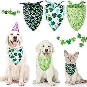 Frienda 3 Pieces St. Patrick's Day Dog Bandanas Shamrock Dog Scarf Green Washable Pet Puppy Dog Bib for St. Patrick's Day Pet Costume Supply