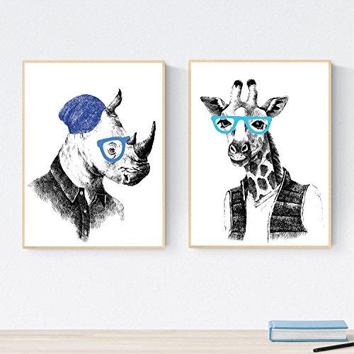 Set de Dos láminas Animales ILUSTRADOS. Pack de Dos Poster para enmarcar con Ilustraciones de Animales.