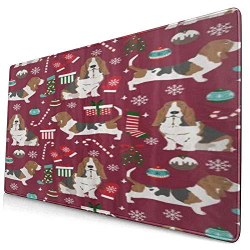 HUAYEXI Alfombrilla Gaming,Calcetines de bastón de Caramelo de Navidad de Basset Hound,con Base de Goma Antideslizante,750×400×3mm
